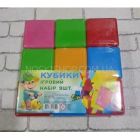 Кубики строительные пластиковые,маленькие,MToys 9 шт., цветные