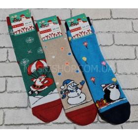"""Носки """"Крокус"""" махровые жен. р. 36-40 -ассорти -(Дед мороз с парашютом +снеговик +пингвин... -без отворота)"""