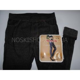"""Лосины- Джеггинсы """"Кеналин"""" 9401, имитация под джинсы, сзади накладные карманы, тонком меху, р. M-L (44-46),L-XL (46-48),XL-XXL (48-50) черные"""