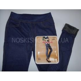 """Лосины- Джеггинсы """"Кеналин"""" 9401, имитация под джинсы, сзади накладные карманы, тонком меху,р. M-L (44-46), L-XL (46-48), синие"""