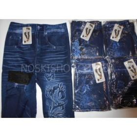 """Лосины- Джеггинсы """"Ласточка"""" 502-2 ботал, имитация под джинсы, бесшовные, на меху р. 48-52, рисунки в широком ассортименте"""
