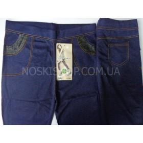 """Лосины-Джеггинсы """"Ласточка"""" А-983-О (тканевые вставки), под джинсы, р. 5XL (48-50) синие"""