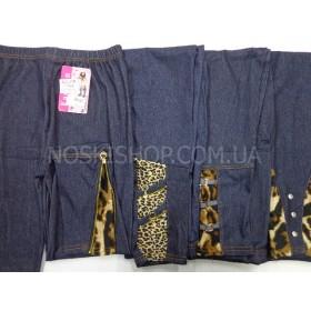 """Лосины """"Алия"""" 995-О под джинсы, внизу тигровые вставки, р. XXXL-XXXXXXL (46-50), синие"""