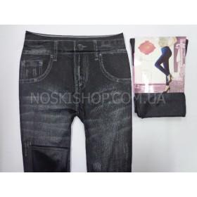 """Лосины-Джеггинсы """"БФЛ"""" СК001-2 бесшовные, имитация под джинсы, р. 44-48 (чёрные)"""