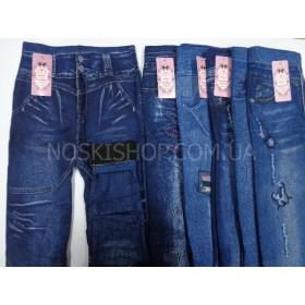 """Лосины-Джеггинсы """"Натали"""" 891 махровые, под джинсы, р. 46-50, рисунки в широком ассортименте"""