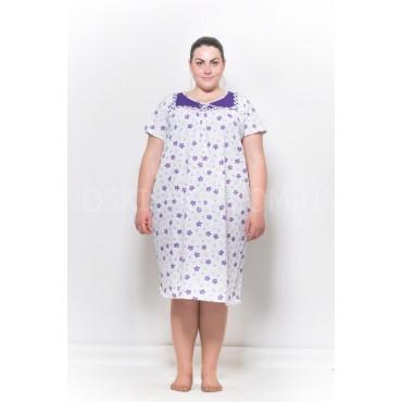 """Ночная рубашка женская """"Альмина"""" 1078 р. 54-56 (супер батал) хлопковая с коротким рукавом -(уп. 1 шт -Без выбора расцветки!!!)"""