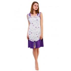 """Ночная рубашка женская """"Ондер"""" 1720 хлопковая с широкими бретелями р. М-(46), L-(48), XL-(50) -ростовка 3 шт -ассорти цветов"""