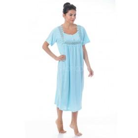 """Ночная рубашка женская """"Сантина"""" 119 р. XL-(52-54) хлопковая с коротким рукавом +микс кружева -(уп. 1 шт -Без выбора цвета!!!)"""