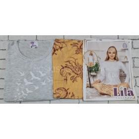 """Пижама женская Турция """"LILA"""" 719 (норма) хлопковая - реглан с длинным рукавом +штаны р. S-(42), M-(44), L-(46), XL-(48) -ростовка 4 шт -(серый верх, горчичный низ)"""