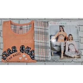 """Пижама женская Турция """"MARILYNMOD"""" 8237 (норма) хлопковая - реглан с длинным рукавом +штаны р. S-(42), M-(44), L-(46), XL-(48) -ростовка 4 шт -(оранжевая +клетка)"""