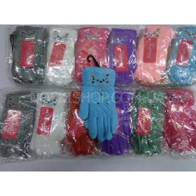 """Перчатки детские, """"Корона"""" 5513 р. S (4-6 лет) цветные, на байке, ассорти уп. 12 шт (девочка)"""