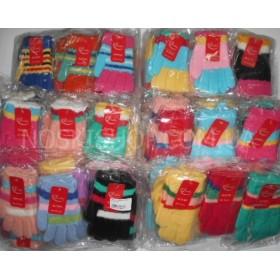 """Перчатки детские """"Gloves"""" Д-3 (девочка) с начесом, р. 5-8 лет -(разноцветные, микс моделей) -уп. 12 шт."""