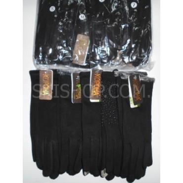 """Перчатки женские """"Корона"""" 7216 трикотажные на тонком меху с сенсорным пальцем р. M, L, XL -(в уп. 12 шт одной модели -микс размеров) -черные"""