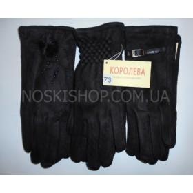 """Перчатки женские """"Королева""""-59 замшевые на тонком меху уп. 10 шт., (в уп. одна модель, 5 размеров), модели в широком ассортименте, (черные)"""
