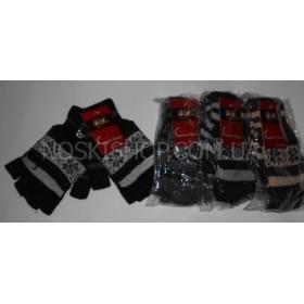 """Перчатки без пальцев+рукавица (митенки) универсальные """"Cotton Gloves"""" А-55, уп. 12 шт. ассорти (орнамент)"""