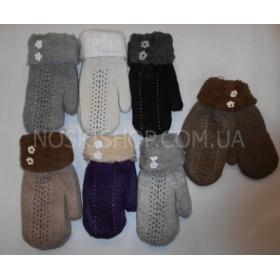 """Рукавицы женские """"Gloves"""" 2219 двойные на меху, уп. 12 шт. ассорти (на манжете цветочки)"""