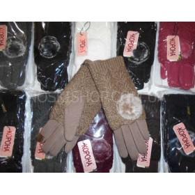 """Перчатки женские """"Корона"""" 7367 трикотажные на меху, с чувствительными пальцами для сенсорных устройств, сверху вязаный хамут (2в1), уп. 12 шт., микс цветов"""