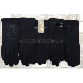 """Перчатки женские """"Корона"""" 7216-2 трикотажные на тонком меху, р. M, L, XL -(черные) -(уп. 12 шт. одного размера и одной модели)"""