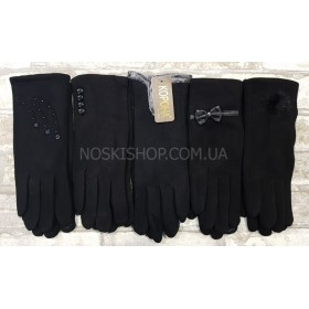 """Перчатки женские """"Корона"""" 7217 трикотажные на тонком меху (с сенсорным пальцем), р. M - уп. 12 шт- (в уп. один размер, одна модель)- черные"""