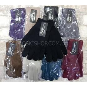 """Перчатки женские """"Корона"""" 7071 с начёсом, уп.12 шт ассорти (цветные)"""