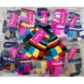 """Перчатки  детские """"Корона"""" 5251 с начёсом, р. 2-4 года, уп. 12 шт, ассорти (цветные пальчики)"""