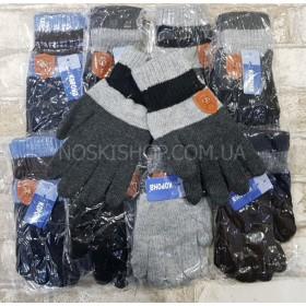"""Перчатки подростковые """"Корона"""" 5566 (мальчик) на байке, р. L- (9-12), XL- (12-15 лет)- уп 12 шт., ассорти"""