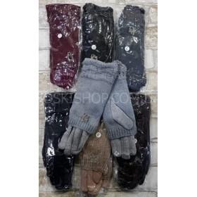 """Перчатки женские """"Королева"""" 65-5 трикотажные на меху с чувствительным пальцем для сенсорных устройств, сверху вязаный хомут (2в1), уп. 10 шт.- ассорти, в уп. микс размеров и цветов"""
