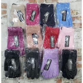 """Перчатки подростковые """"Королева"""" 606 (девочка) на байке, р. от 10 лет... -ассорти -(однотонные -""""жатка"""")"""