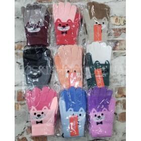 """Перчатки детские """"Корона"""" Е0007 (девочка) на байке S-(2-4 года), M-(4-6 лет) -(мордочка мишки) -уп. 12 шт"""