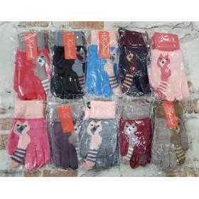 """Перчатки детские """"Корона"""" Е0008 (девочка) на байке S-(2-4 года), M-(4-6 лет) -(однотонные+кот с полосатым хвостиком) -уп. 12 шт"""
