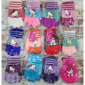 """Перчатки детские """"Корона"""" 5030 (девочка) с начесом, р. ХS-(2-3 года), S-(3-4 года) -(котик-Китти) -уп. 12 шт"""