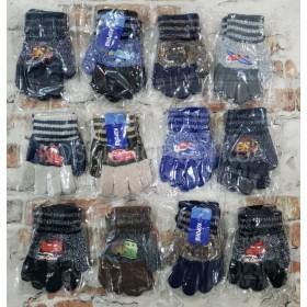 """Перчатки детские """"Корона"""" 5031 (мальчик) с начесом, р. ХS-(2-3 года) -(тачки, самолёты) -уп. 12 шт"""