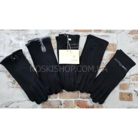 """Перчатки женские """"Королева"""" 260-.... трикотажные на тонком меху -черные -(в уп. 10 шт. -одной модели, микс размеров) -модели в широком ассортименте"""