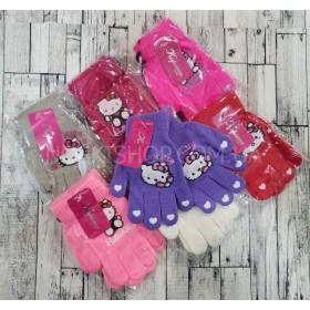 """Перчатки детские """"Корона"""" 5017 (девочка) с начесом, р. S-(3-5 года), M-(6-8 года) -(Hello Kitty) -уп. 12 шт"""