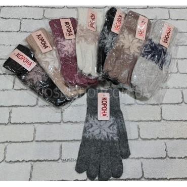 """Перчатки женские """"Корона"""" 7635 """"ангора""""-бамбук-шерсть -ассорти -(однотонные+большая снежинка) -уп. 12 шт"""