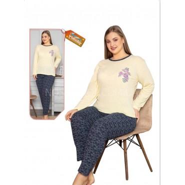 """Пижама женская Турция """"ASMA"""" 10779-16 (батал) -кофта с длинным рукавом +штаны р. L-(48), XL-(50), 2XL-(52), 3XL-(54), 4XL-(56) -ростовка 5 шт -(бирюзовая)"""