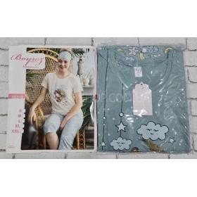 """Пижама женская Турция """"BOYRAZ"""" 12318 бриджи+футболка р. S-(44), M-(46), L-(48), XL-(50), 2XL-(52) -ростовка 5 шт -(серая+мишка)"""
