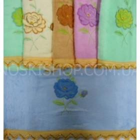 Полотенце 076-12 лицевое, размер 90*45 уп. 6 шт, махра-велюр (однотонные с цветком, золотое кружево)