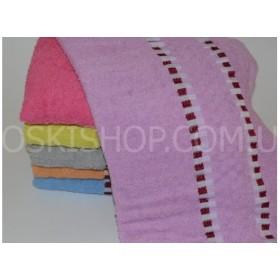 Полотенце ВН-1033 банное махровое, размер 140*70 уп. 6 шт (цветные с полоской в кубики)
