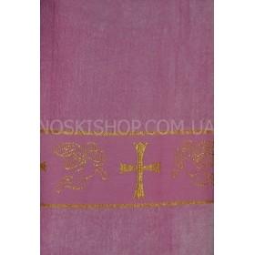 """Полотенце """"Крыжма"""" (крестильное)  087-3 велюр, размер 140*70, уп. 1 шт- (розовое)"""