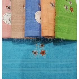 Полотенце 116-6 банное махровое, размер 140*70 уп. 6 шт (три цветочка)