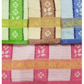 Полотенце 805-1 лицевое, размер 90*45 уп. 8 шт (три цвета в упаковке, полоски с цветами+золотой орнамент)