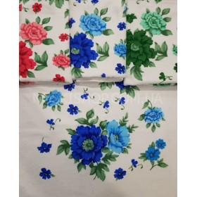 Полотенце 128-3 уп. 10 шт, микрофибра-велюр кухонное, размер 70*35 (цветы на белом фоне)