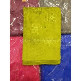 Полотенце 128-6 сауна микрофиба-велюр, размер 150*100 (уп. 1 шт), цвета широком в ассортименте (однотонные с выдавленными цветами+пунктирные линии)