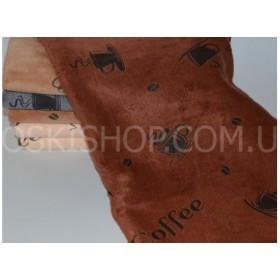 Полотенце 078-25 лицевое, микрофибра-велюр, размер 90*45  уп. 6 шт. (кофе+зерна+чашки-6 шт)