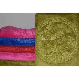 Полотенце 17-18 лицевое микрофибра-велюр, размер 90*45 (выдавленный круг с цветами сакуры)