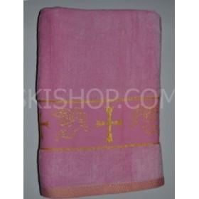 """Полотенце """"Крыжма"""" (крестильное)  087-3 велюр, размер 140*70, уп. 1 шт, (розовое)"""