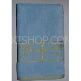 """Полотенце """"Крыжма"""" (крестильное)  087-3 велюр, размер 140*70, уп. 1 шт, (голубое)"""