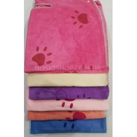 Полотенце-платье на шлейках+кнопки 130-80 банное микрофиба-велюр, размер 130*80 (уп. 1шт), ассорти (лапки, мишки)