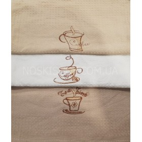 """Салфетка (полотенце) """"Китай"""" А-11-04 кухня, размер 60*80, уп. 10 шт- (в упаковке один цвет)- (вафелька- кофейные чашки)"""
